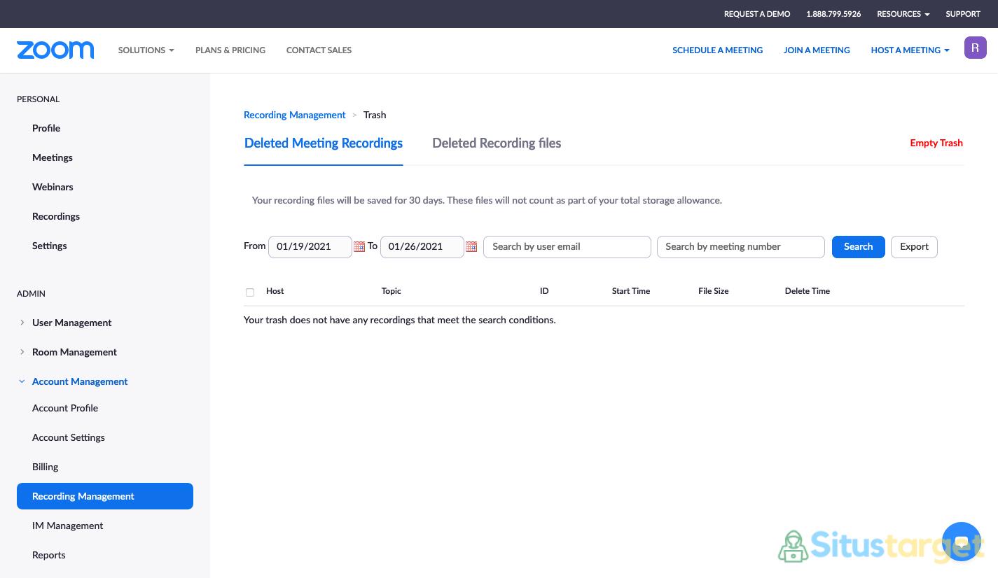 Cara menghapus rekaman meeting Zoom secara permanen dan restore file dari tempat sampah