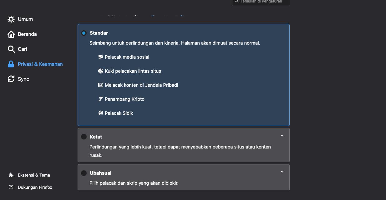 Cara mematikan fitur tracking protection pada browser firefox